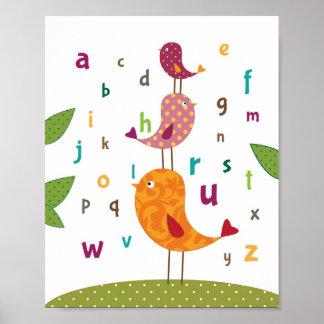 Little birdie alphabets nursery art poster