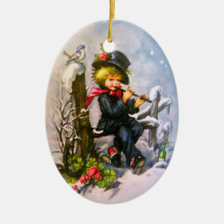 Little Boy with Flute Ceramic Oval Decoration