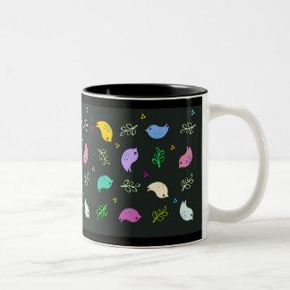 Little Colorful Birds Pattern on Black Two-Tone Mug