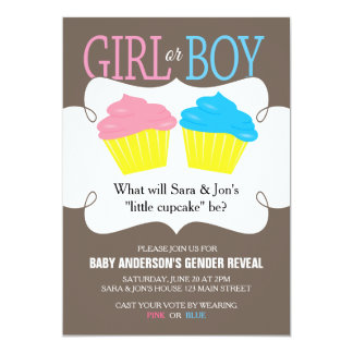 Little Cupcake Pink or Blue Gender Reveal Party 13 Cm X 18 Cm Invitation Card