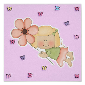 Little Fairy Girl with Flower Poster