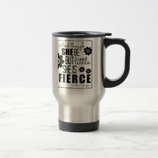 Little & Fierce - Black & White Stainless Steel Travel Mug