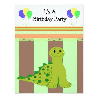 Little Green Dinosaur Party Invitaiton 11 Cm X 14 Cm Invitation Card