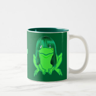 Little green frog and wig on a mug