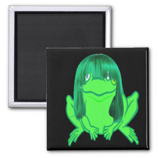 little green frog w/green wig magnet