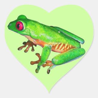 Little green tree frog heart sticker