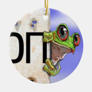 Little Green Tree Frog Round Ceramic Decoration