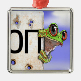 Little Green Tree Frog Silver-Colored Square Decoration