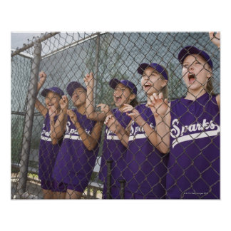 Little league team cheering in dugout poster