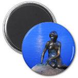 Little mermaid statue, Copenhagen, Denmark 6 Cm Round Magnet