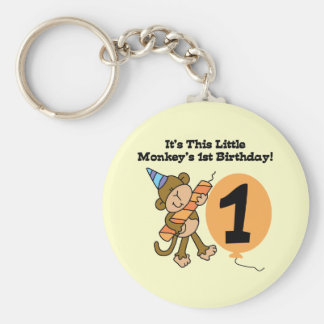 Little Monkey 1st Birthday Tshirts and Gifts Basic Round Button Key Ring
