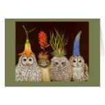 Little owls on Big Hat Night card