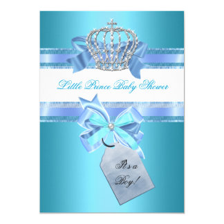 Little Prince Baby Shower Boy Teal Blue Crown 3 13 Cm X 18 Cm Invitation Card
