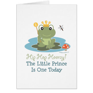 Little Prince Frog 1st Birthday Greeting Card