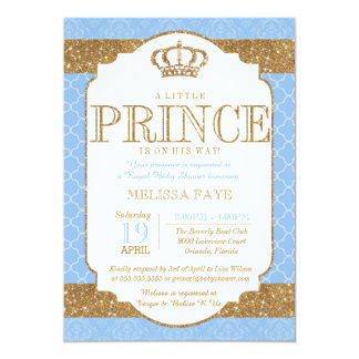 Little Prince Royal Baby Blue Gold Baby Shower 13 Cm X 18 Cm Invitation Card