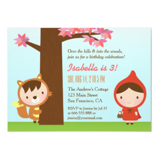 Little Red Riding Hood Big Bad Wolf Birthday Party 11 Cm X 16 Cm Invitation Card