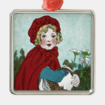 Little Red Riding Hood Silver-Colored Square Decoration