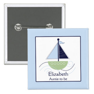 Little Trendy Sailboat (Green/Blue) Nametag Button