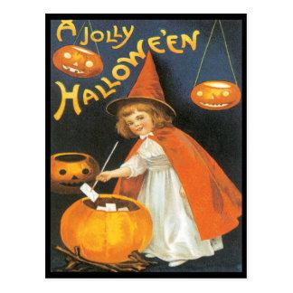 Little Witch Boiling Trouble Vintage Postcard