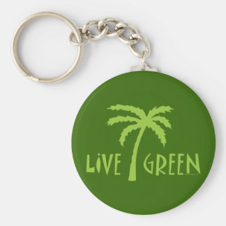 Live Green Tree Hugger Basic Round Button Key Ring