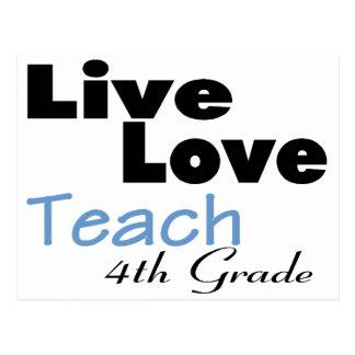 Live Love Teach 4th Grade (blue) Postcard