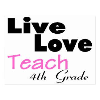 Live Love Teach 4th Grade (pink) Postcard