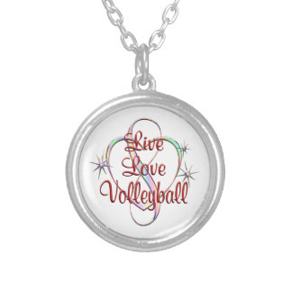Live Love Volleyball Round Pendant Necklace