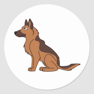 Liver & Tan German Shepherd Round Sticker