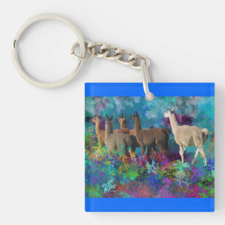 Llama Five Walk in Fantasy Land for Camelids Single-Sided Square Acrylic Key Ring