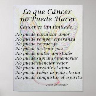 Lo que Cancer no Puede Hacer Poem Poster Print