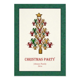 Lobster Crawfish Christmas Tree Party green white 13 Cm X 18 Cm Invitation Card