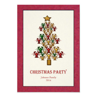 Lobster Crawfish Christmas Tree Party red white 13 Cm X 18 Cm Invitation Card