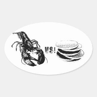 Lobster VS Pancakes Oval Sticker