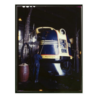 Locomotive washing 1939 postcard