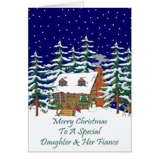 Log Cabin Christmas Daughter & Fiance Greeting Card