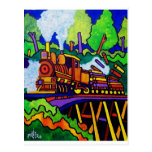 Logging Train Postcard