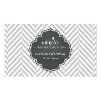 LOGO modern herringbone pattern grey badge silver Pack Of Standard Business Cards