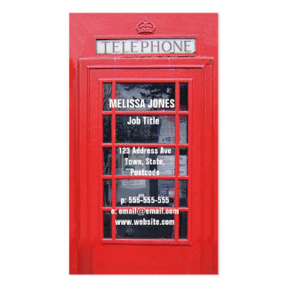 London Red Telephone Box Pack Of Standard Business Cards