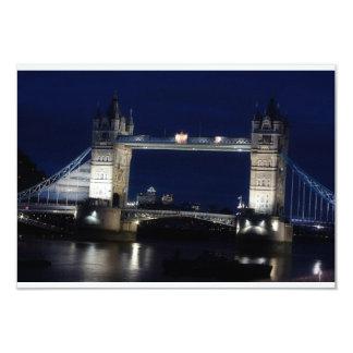 London, Tower Bridge at night 9 Cm X 13 Cm Invitation Card