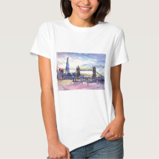 London Tower Bridge with The Shard at dusk T Shirt