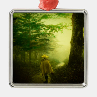 Lone Pilgrim in the Forest Road Mist Vintage Japan Silver-Colored Square Decoration
