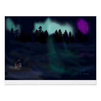 Lone wolf by the lights poster