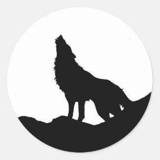 Lone Wolf Standing on a Hill Round Sticker