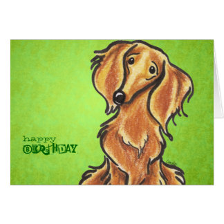 Long Haired Red Dachshund Birthday Custom Greeting Card