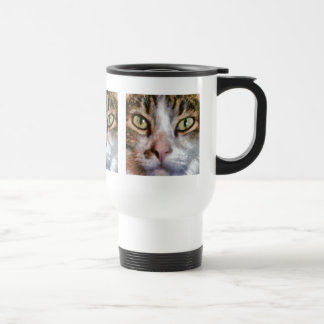 Long Haired Tabby Cat Close Up Portrait Stainless Steel Travel Mug