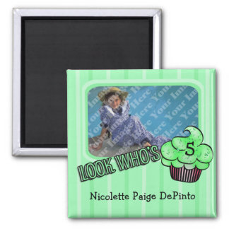 Look Who's Having A Green Striped Birthday! Square Magnet