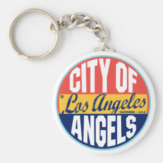 Los Angeles Vintage Label Basic Round Button Key Ring