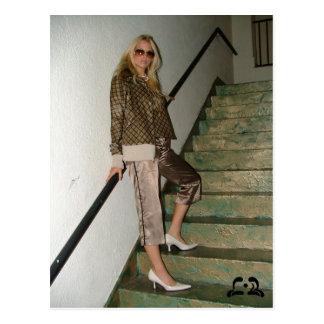 Lotti B Green Stairs Postcard