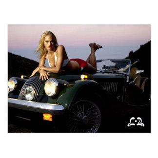 Lotti B On Top of Car Postcard
