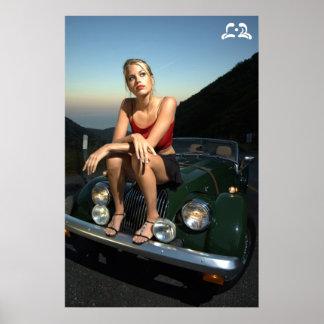 Lotti B Sitting on Car Poster